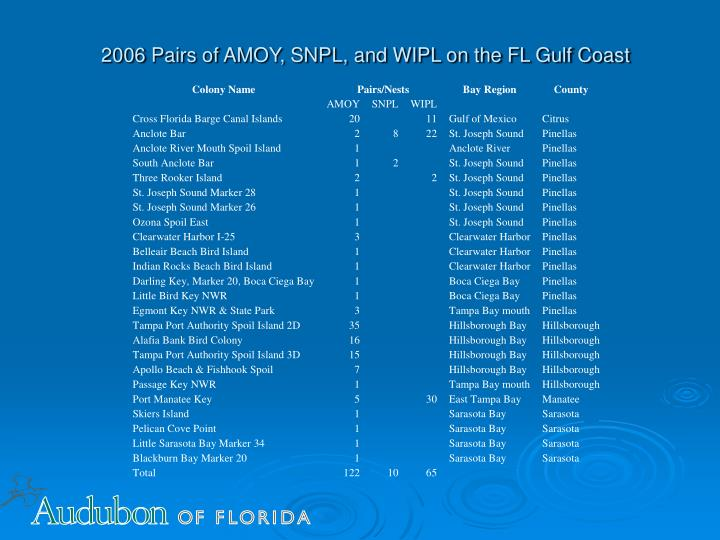 2006 Pairs of AMOY, SNPL, and WIPL on the FL Gulf Coast