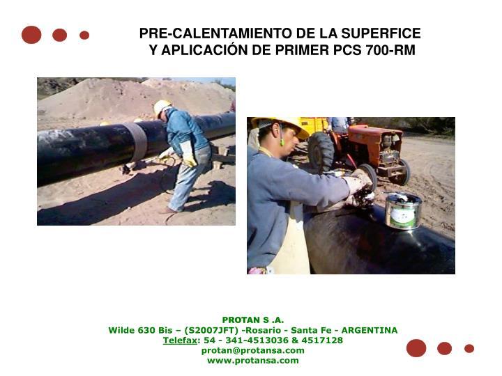 PRE-CALENTAMIENTO DE LA SUPERFICE