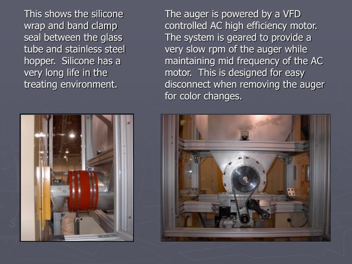 The auger is powered by a VFD controlled AC high efficiency motor.  The system is geared to provide a very slow rpm of the auger while maintaining mid frequency of the AC motor.  This is designed for easy disconnect when removing the auger for color changes.