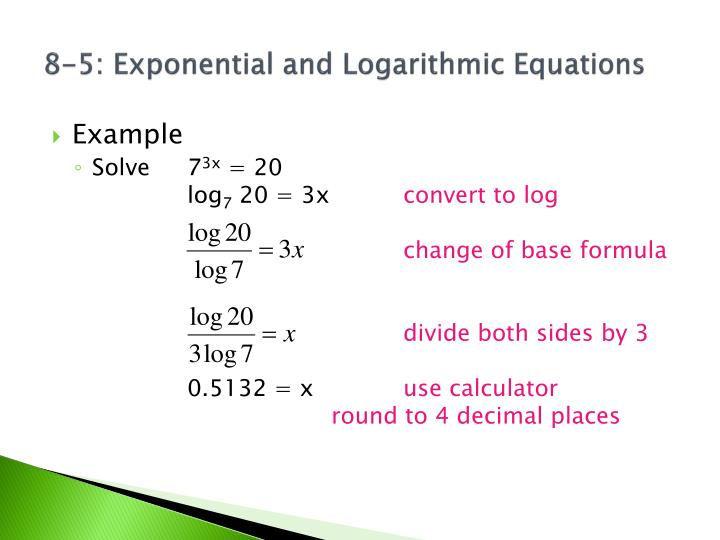 how to solve exponential eqatiuon with logarthms base x