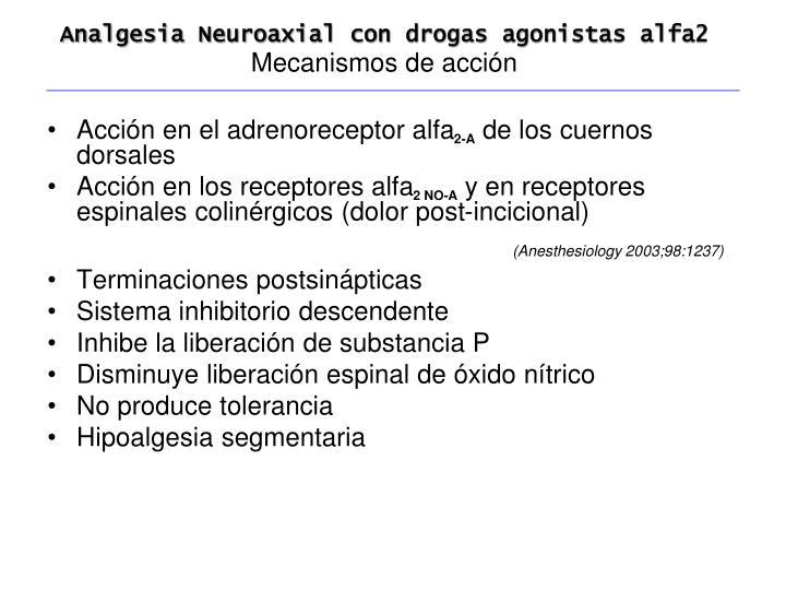 Analgesia Neuroaxial con drogas agonistas alfa2