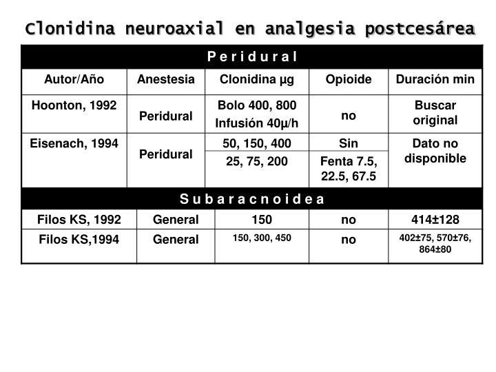 Clonidina neuroaxial en analgesia postcesárea