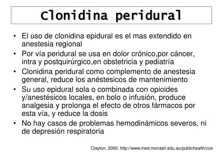 Clonidina peridural