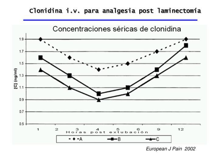 Clonidina i.v. para analgesia post laminectomía
