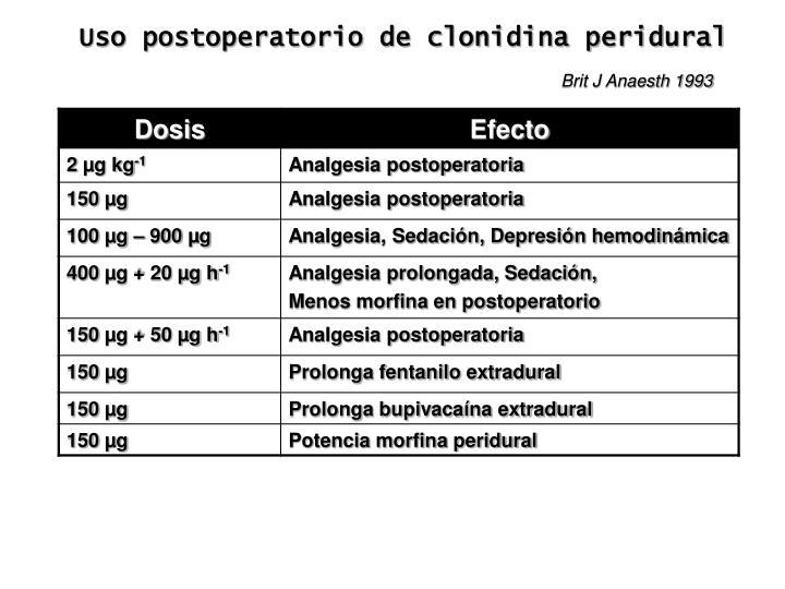 Uso postoperatorio de clonidina peridural