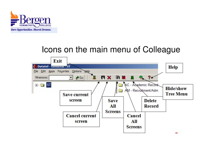 Icons on the main menu of Colleague