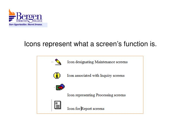 Icons represent what a screen's function is.
