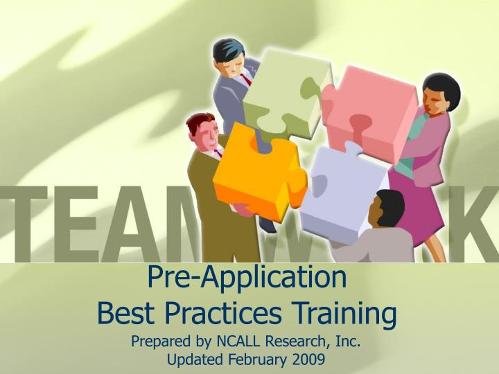 pre application best practices training n.