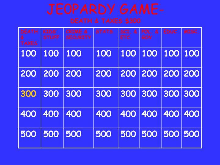 JE0PARDY GAME-