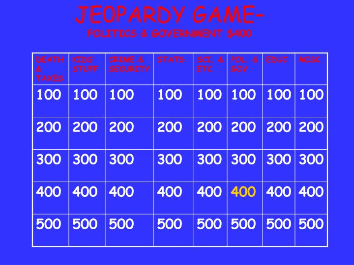 JE0PARDY GAME–