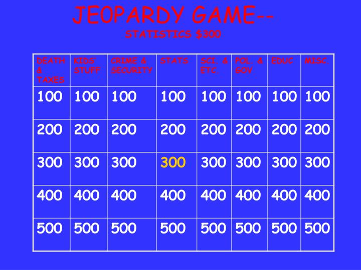 JE0PARDY GAME--