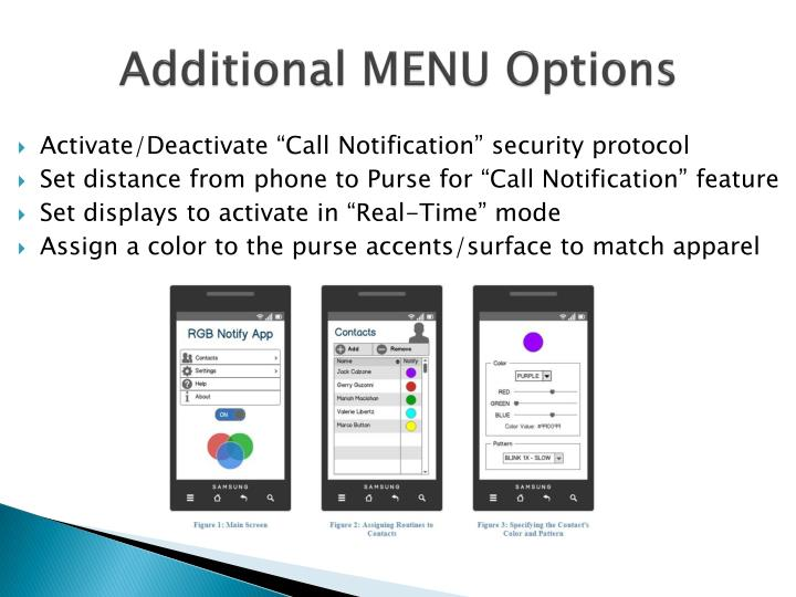 Additional MENU Options
