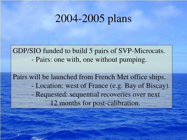 2004-2005 plans