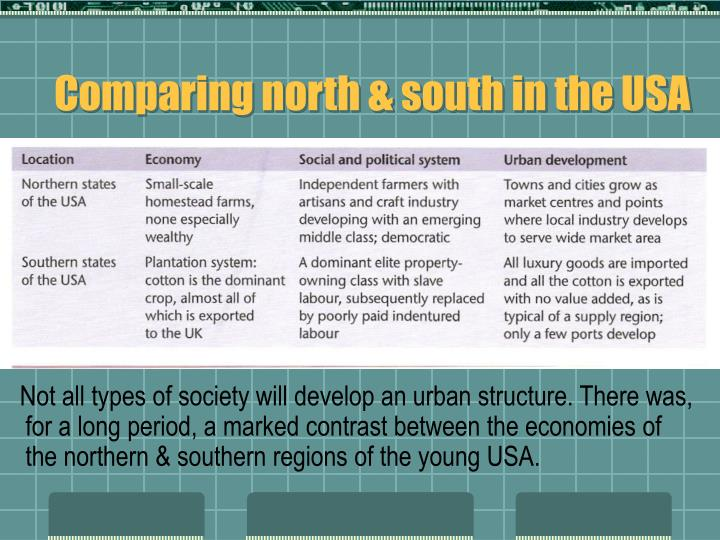 Comparing north & south in the USA