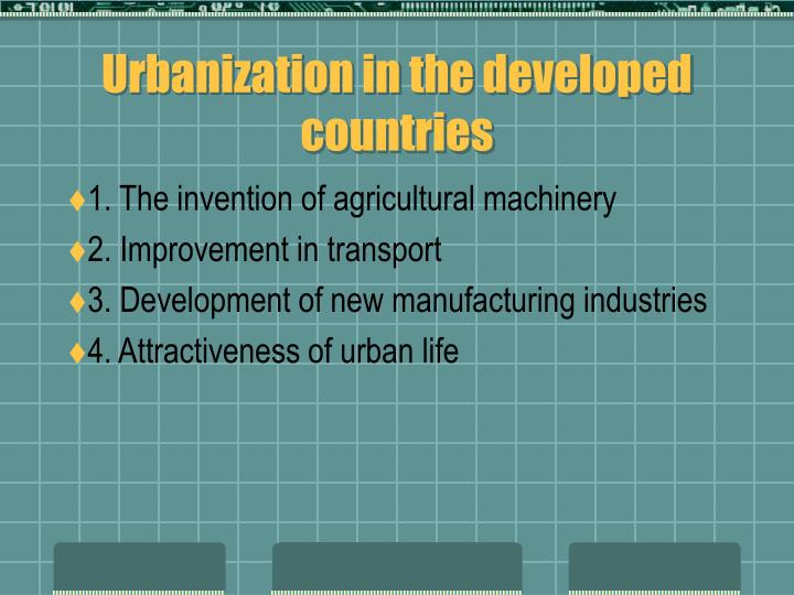 Urbanization in the developed countries
