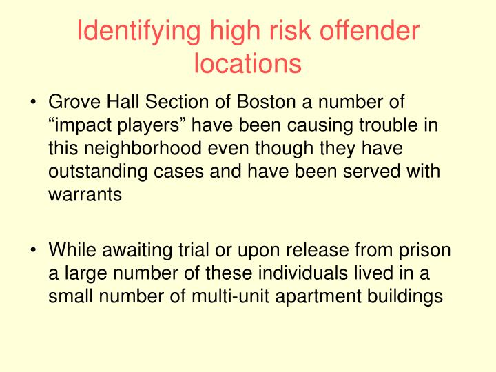 Identifying high risk offender locations
