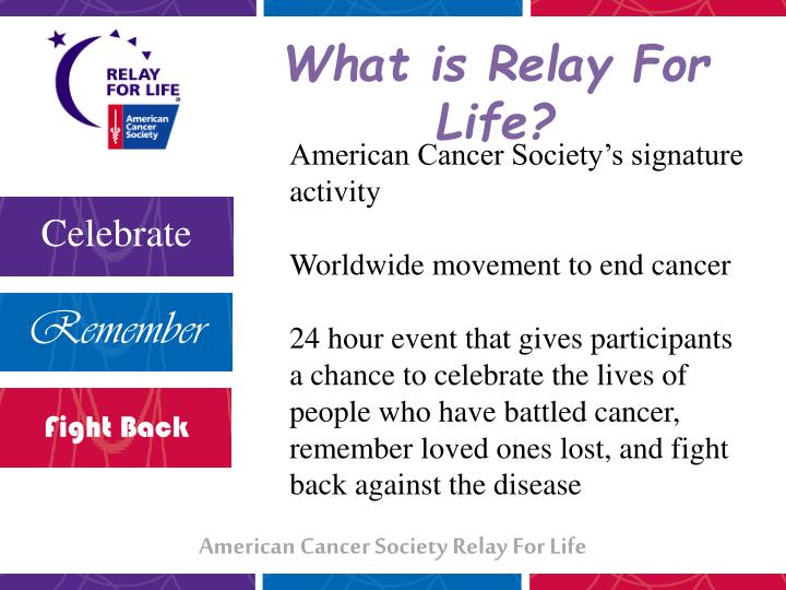 Ppt american cancer society relay for life powerpoint presentation american cancer societys signature activity toneelgroepblik Images