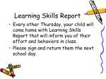 learning skills report