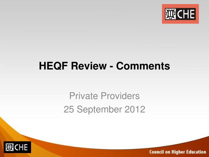 heqf review comments