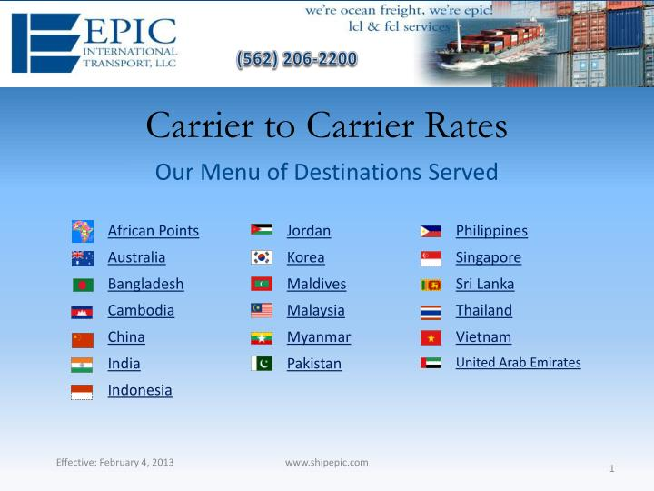carrier to carrier rates n.