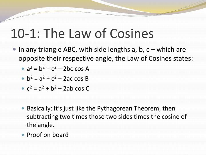10 1 the law of cosines1