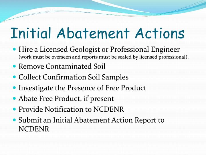 Initial Abatement Actions