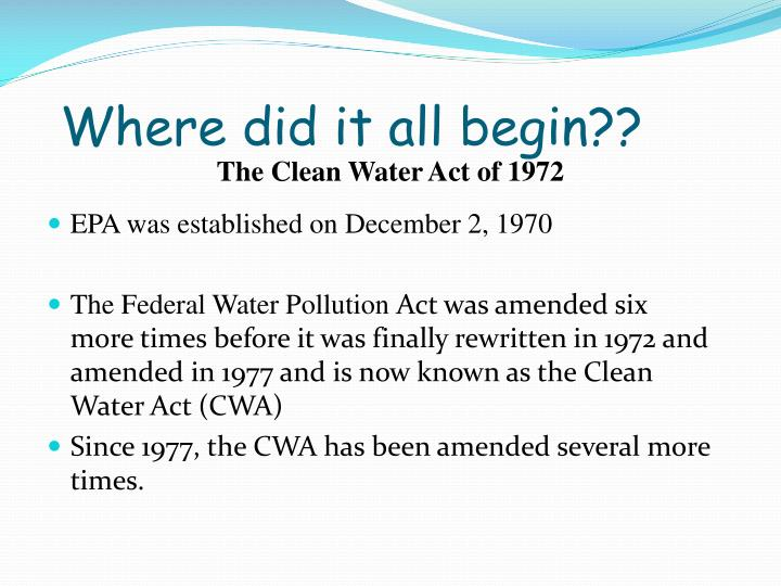 The Clean Water Act of 1972