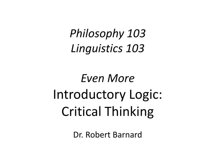 philosophy with logic and critical thinking
