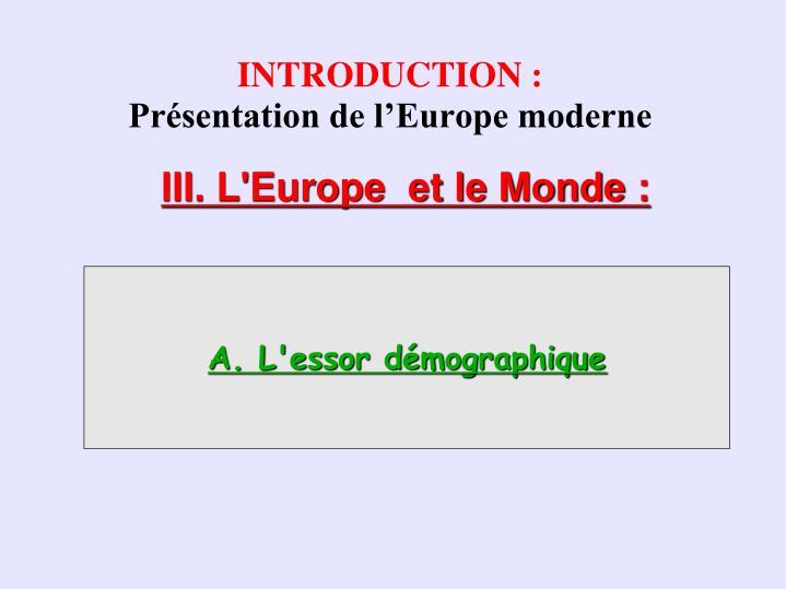 Introduction pr sentation de l europe moderne