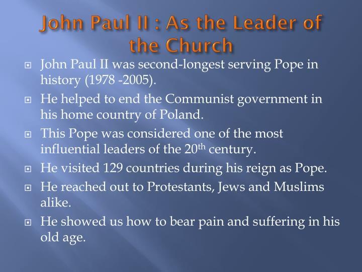 John paul ii as the leader of the church