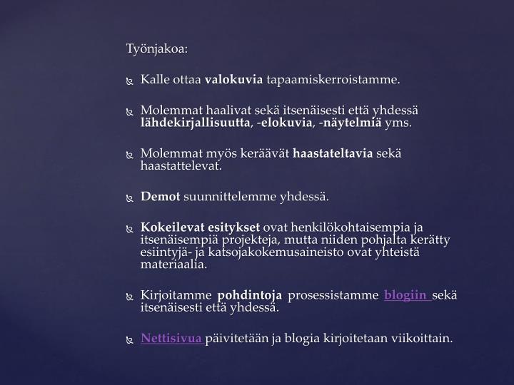 Työnjakoa: