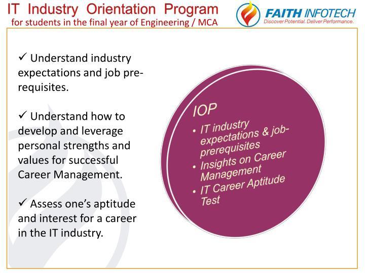 IT  Industry  Orientation  Program