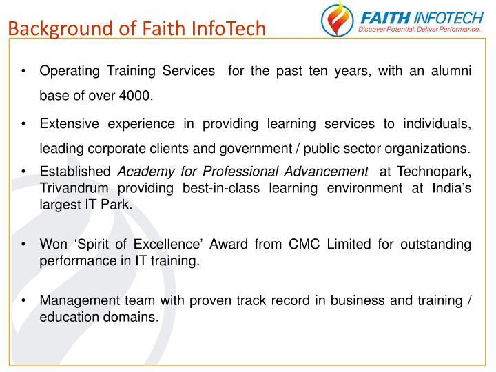 Background of Faith InfoTech
