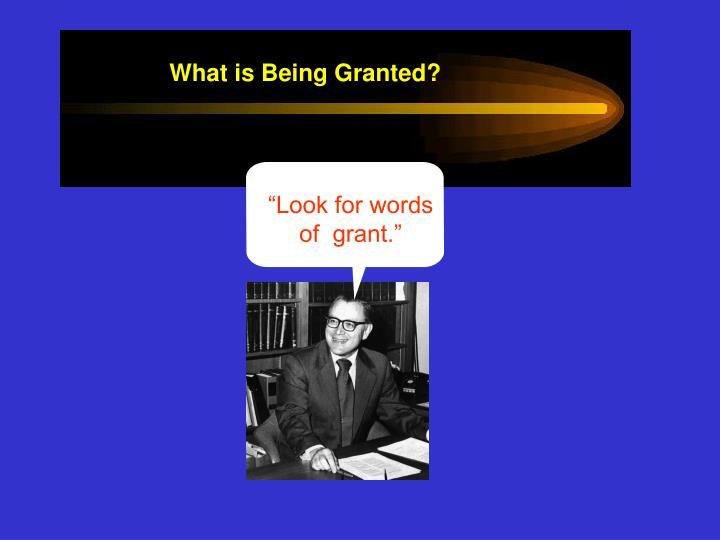 """Look for words of  grant."""