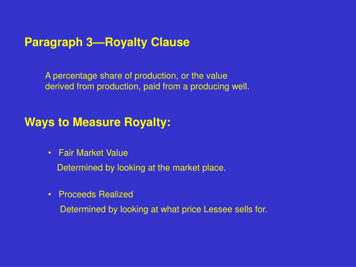 Paragraph 3—Royalty Clause