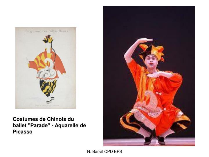 """Costumes de Chinois du ballet """"Parade"""" - Aquarelle de Picasso"""