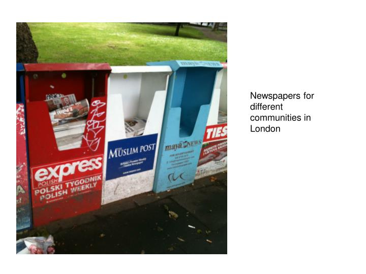 Newspapers for different communities in London