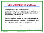 dual optimality of cci lca