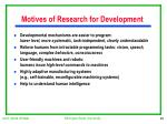 motives of research for development