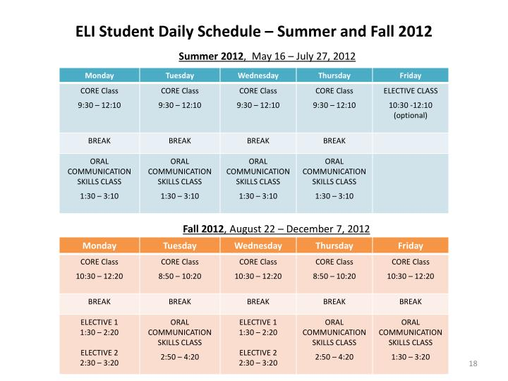 ELI Student Daily Schedule – Summer and Fall 2012