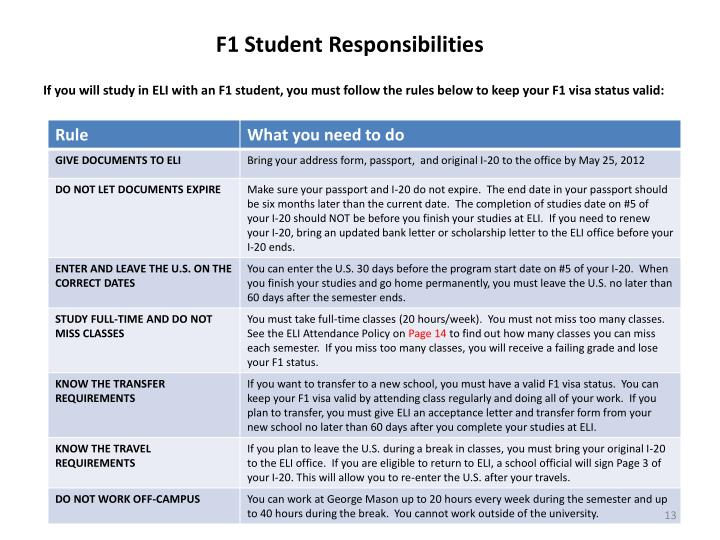 F1 Student Responsibilities