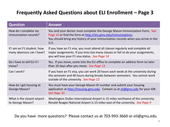 Frequently Asked Questions about ELI Enrollment – Page 3