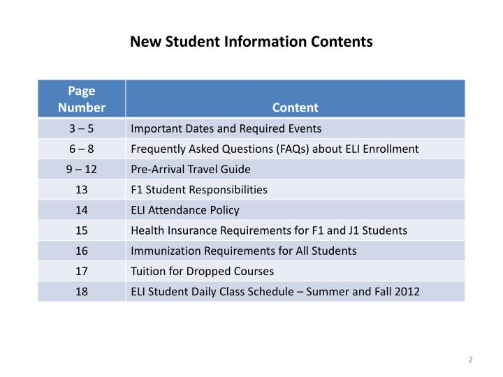 New student information contents