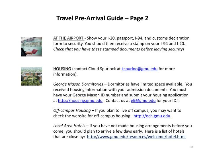 Travel Pre-Arrival Guide – Page 2