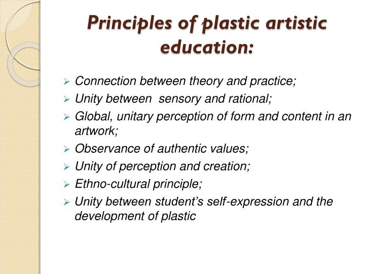 Principles of plastic artistic education: