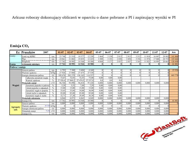Arkusz roboczy dokonujący obliczeń w oparciu o dane pobrane z PI i zapisujący wyniki w PI