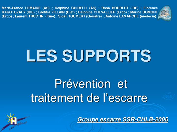 les supports n.