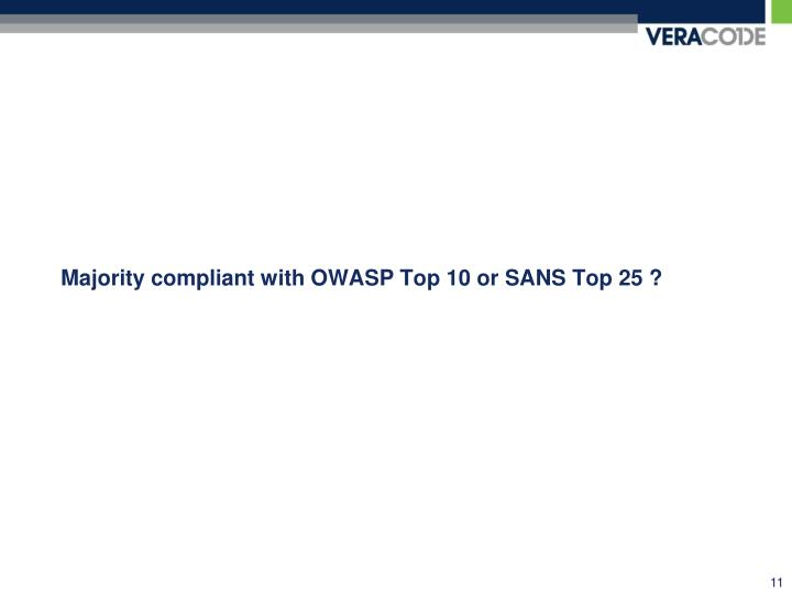 Majority compliant with OWASP Top 10 or SANS Top 25 ?