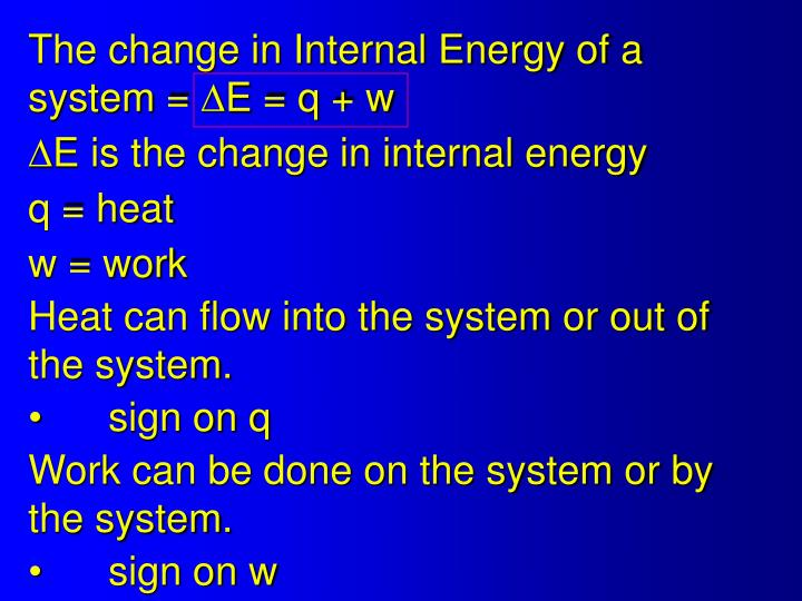 The change in Internal Energy of a system =