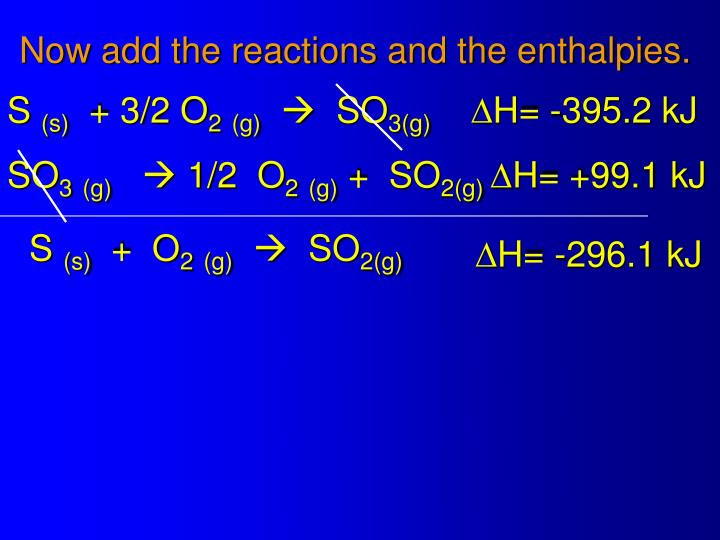Now add the reactions and the enthalpies.